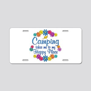Camping Happy Place Aluminum License Plate