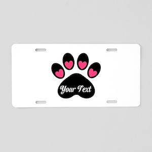 Personalizable Paw Print Pink Aluminum License Pla
