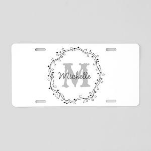 Personalized vintage monogram Aluminum License Pla