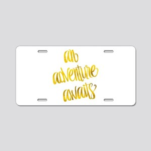 Adventure Awaits Gold Faux Aluminum License Plate