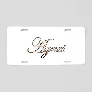 Gold Agnes Aluminum License Plate