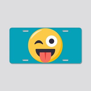 Winky Tongue Emoji Aluminum License Plate