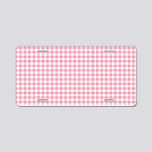 Pink Gingham Pattern Aluminum License Plate