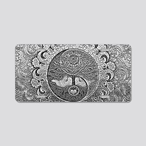 Shiny Metallic Tree of Life Aluminum License Plate