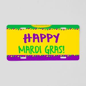 Happy Mardi Gras Crown and Aluminum License Plate