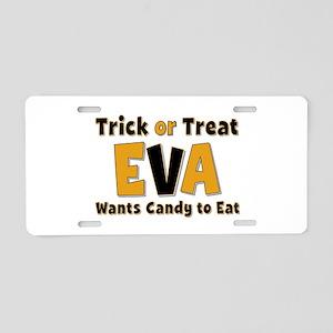 Eva Trick or Treat Aluminum License Plate