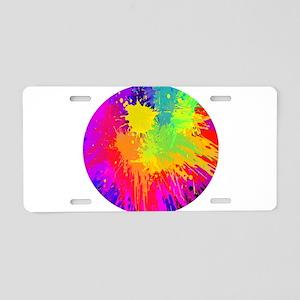 Colourful paint splatter Aluminum License Plate