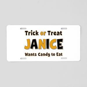Janice Trick or Treat Aluminum License Plate
