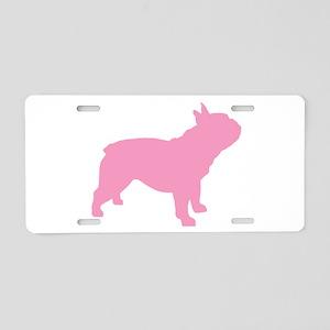 Pink French Bulldog Aluminum License Plate