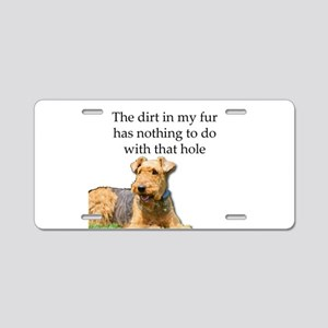 Airedale Sees no connection Aluminum License Plate