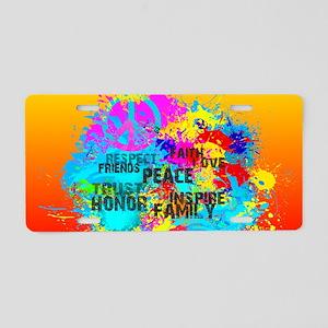 Bright Burst of Colorful In Aluminum License Plate