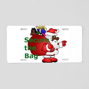 secure the bag santa Aluminum License Plate
