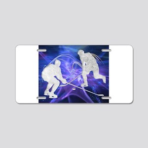Ice Hockey Players Fighting Aluminum License Plate