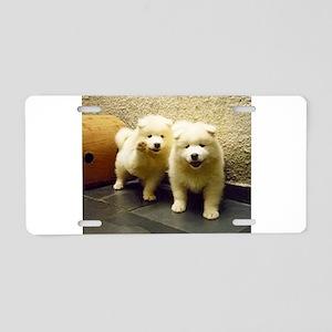 LS samoyed puppy Aluminum License Plate