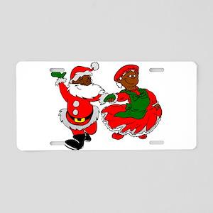 black santa mrs claus Aluminum License Plate