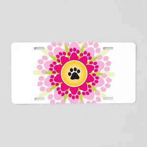Paw Prints Flower Aluminum License Plate