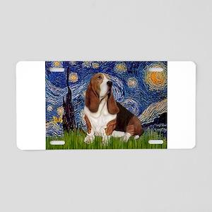 Starry Night Basset Aluminum License Plate