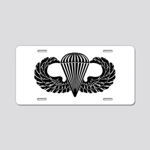 Parachutist -- B-W Aluminum License Plate