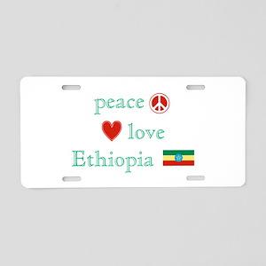 Peace, Love and Ethiopia Aluminum License Plate