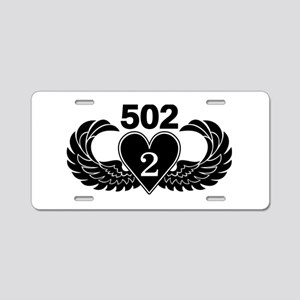 2-502 Black Heart Aluminum License Plate
