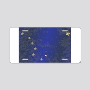 Flag of Alaska Grunge Aluminum License Plate
