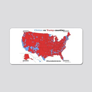 Trump vs Clinton Map Aluminum License Plate