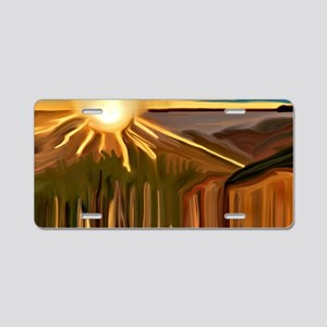 Dance of the Cacti Abstract Aluminum License Plate