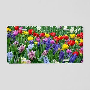 Spring garden flowers Aluminum License Plate