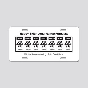 Happy Skier Forecast Aluminum License Plate