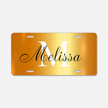 Monogram Gold Aluminum License Plate