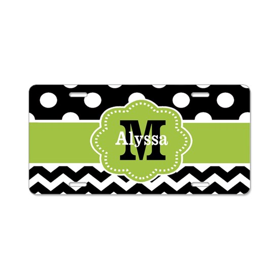 Black Green Dots Chevron Personalized