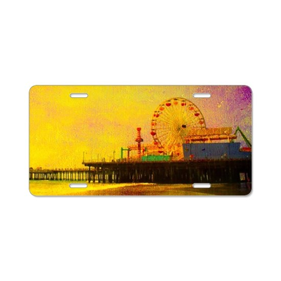 Yellow Santa Monica Pier Aluminum License Plate
