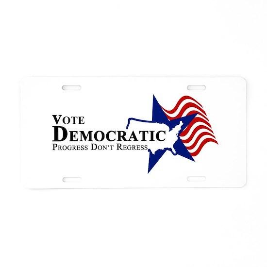 Vote Democratic Progress Aluminum License Plate by
