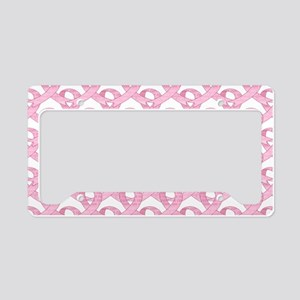 BCPinkRibCureTrLaptop License Plate Holder