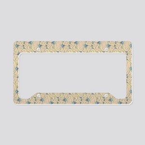 Blue and Green Floral Swirls License Plate Holder