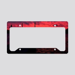 Sunset on a Nothern Lake License Plate Holder