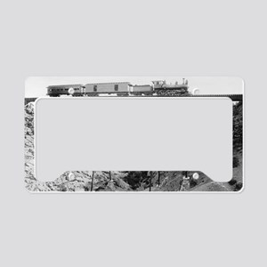 Train Crossing High Bridge License Plate Holder