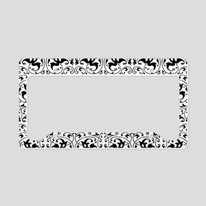 Vintage Black White Swirl License Plate Holder