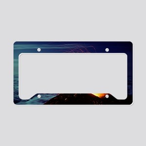 Mount Etna volcano erupting License Plate Holder