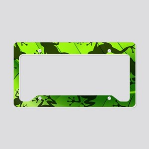 Frog Shape on Green Leaf License Plate Holder