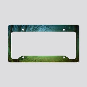 A Forest With Fog License Plate Holder