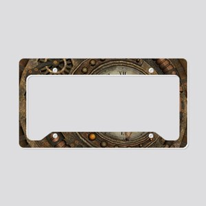 Steampunk, awesome clock License Plate Holder
