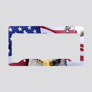 Bald Eagle Over American Flag License Plate Holder
