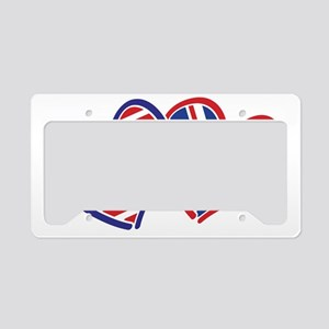 USA and UK Flag Hearts License Plate Holder