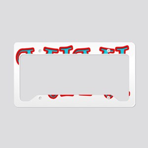 MIMI CURLZ RED AND AQUA License Plate Holder