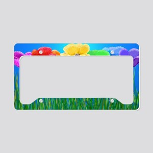 Poppies in a Row On Blue License Plate Holder