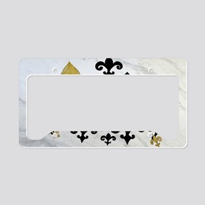 Black  gold Fleur de lis part License Plate Holder