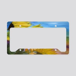 Sunflower Field License Plate Holder