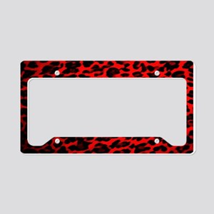 Red & Black Leopard Print License Plate Holder