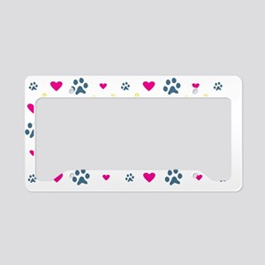 Paw Prints and Hearts License Plate Holder